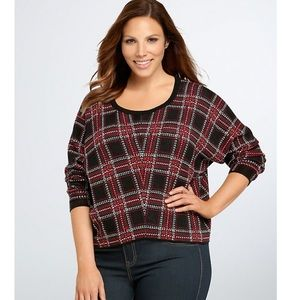 Torrid Tartan Plaid Check Women's Crop Sweater 2